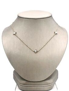 """14k Yellow Gold /& Mother of Pearl 4 Leaf Clover Station Chain 16-17/"""" New"""