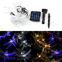 Dragonfly Led Solar Fairy Lights 15.75 20 Leds String Decoration Waterproof