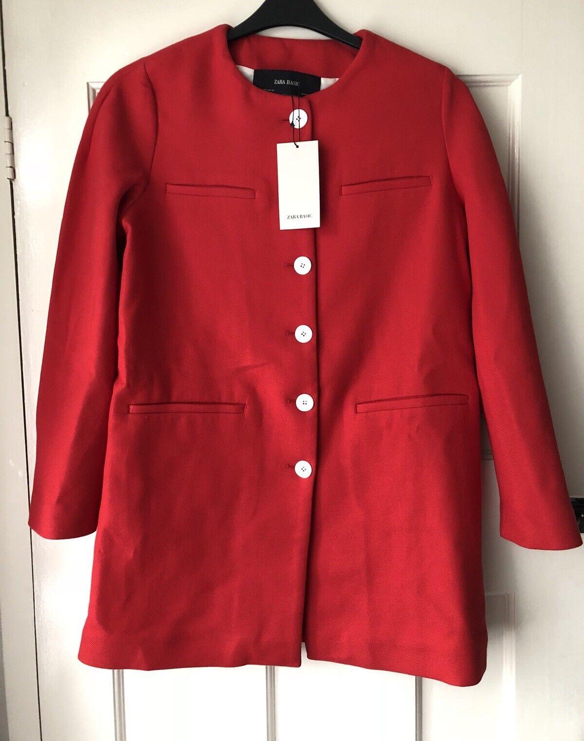 Zara Abrigo Rojo Con Con Con Botones En Contraste Talla M BNWT 41956f