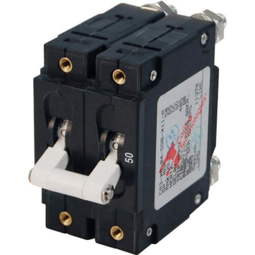 Blue Sea Systems 7251 Circuit Breaker C-Series White Toggle 50 Amp Double Pole