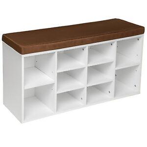 schuhschrank mit sitzkissen sitzbank schuhregal schuhablage 103 5x48x30cm wei ebay. Black Bedroom Furniture Sets. Home Design Ideas