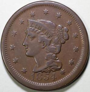 1854  Braided Hair Large Cent - ** VF+ ** N-11, R2 - Die State B