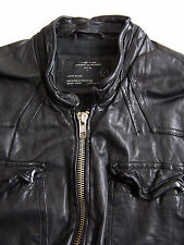 All Saints Neuman Leather Jacket Men's Large Black Biker Vintage ALS270 #