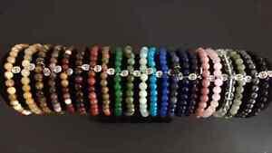 Gemstone-Semi-Precious-Beads-Bracelet-amp-Silver-Eternity-Charm-Healing-Reiki-Bead