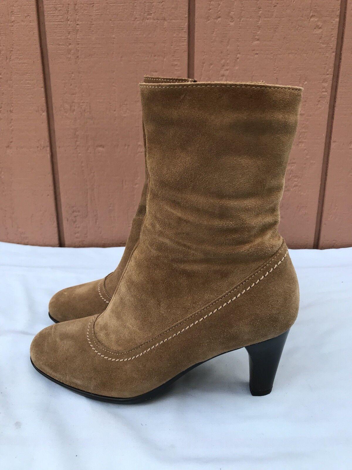 RARE EUC La Canadienne Wouomo  US 6.5M Ankle stivali Marronee Sue Zip Heels A8  grandi offerte