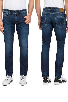 REPLAY Jeans ANBASS M914 87B Forever Dark Röhrenjeans Dunkelblau NEU