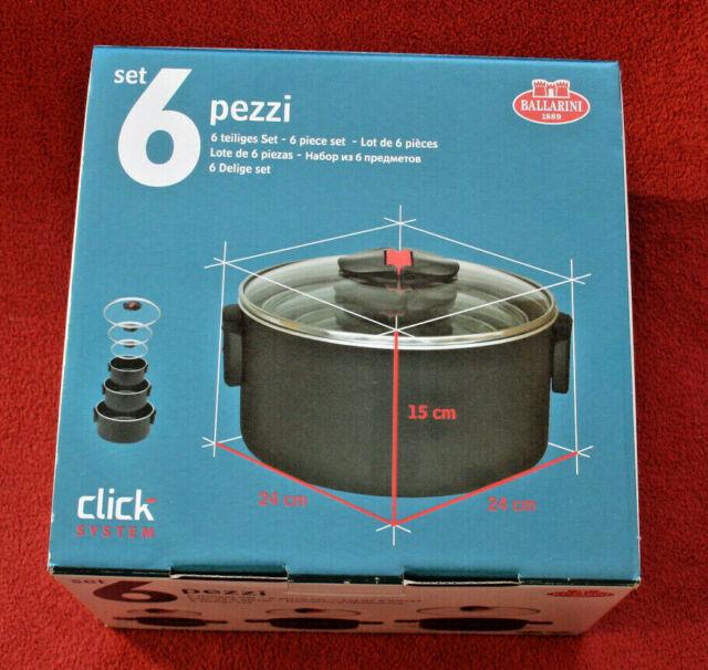 Ballarini Click & Cook 3-teiliges Topfset Kochtöpfe Aluminium mit Glasdeckel NEU