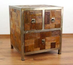 nachtschrank aus metall und alt recyclt teakholz kommode java tisch schublade 4260385124623 ebay. Black Bedroom Furniture Sets. Home Design Ideas
