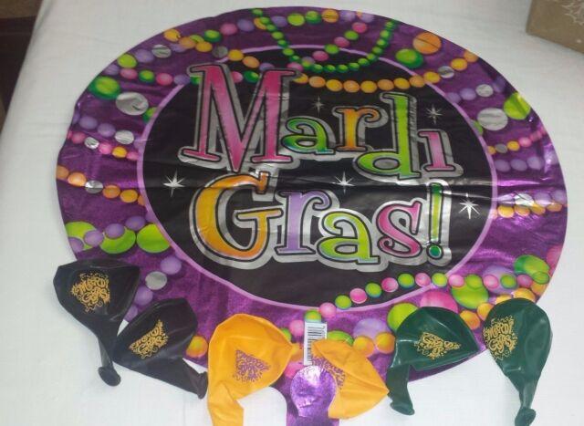 "6 MARDI GRAS 11"" Latex Helium Printed Balloons & 1 Mylar Balloon (Uninflated)"