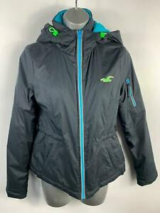 Damen-Hollister-dunkelblau-Gepolstert-Reissverschluss-Hooded-Puffer-Jacke-Mantel-Groesse-XS-Small
