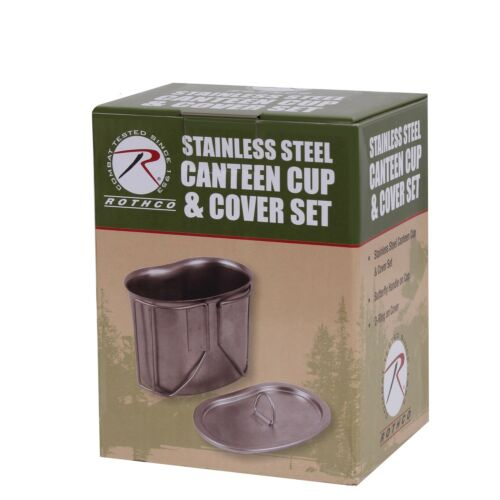 Stainless Steel Canteen Cup and Cover Set Camping Cooking Rothco 8512
