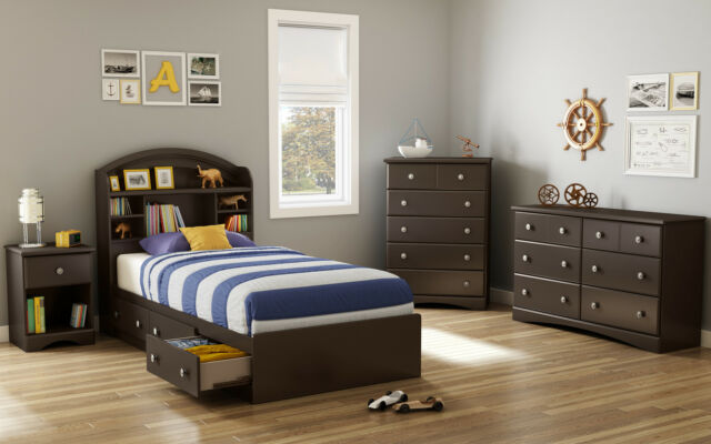 5-Piece Brown Twin Storage Platform Bed with Headboard Bedroom Collection Set