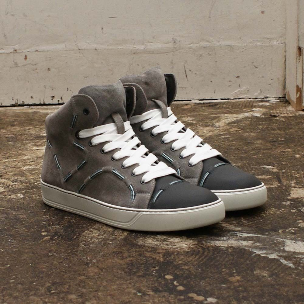 NEW Mens Lanvin Grey Suede Leather High Top Trainers Sneakers GENUINE RRP: