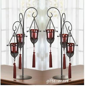 2 gothic castle red black tall iron candelabra throne candle holder centerpiece