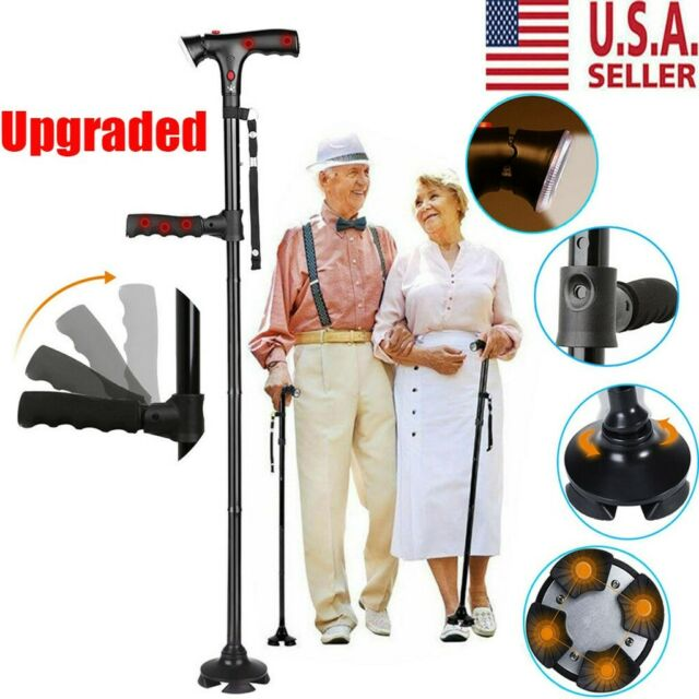 LED Magic Walking Cane Folding Safety Walking Stick 4 Head Pivoting Trusty Base