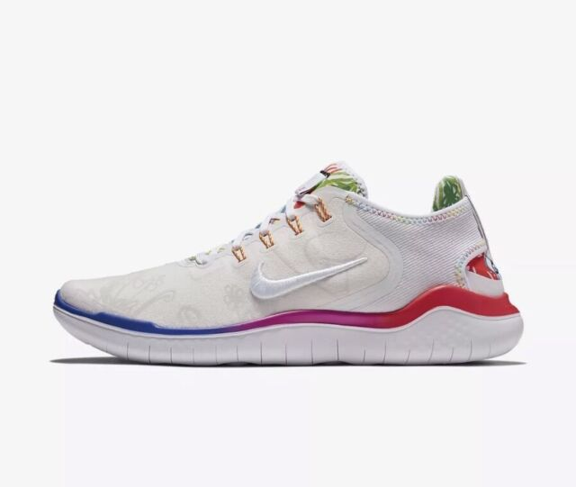 2df9aba96ec2 Nike Mens Free RN 2018 T-Shirt White-Fuchsia Sneaker Shoes AH3966 100 Size
