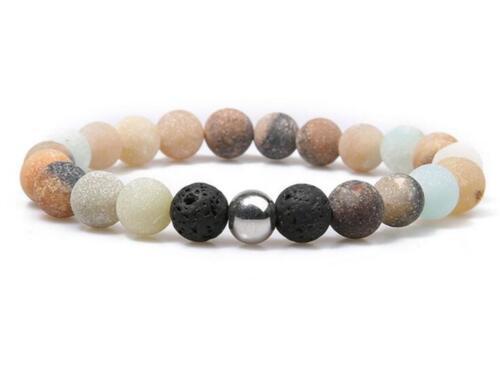 8 mm Givré amazonium Bracelet Handmade Tibet argent prier Bless Revers Guérison