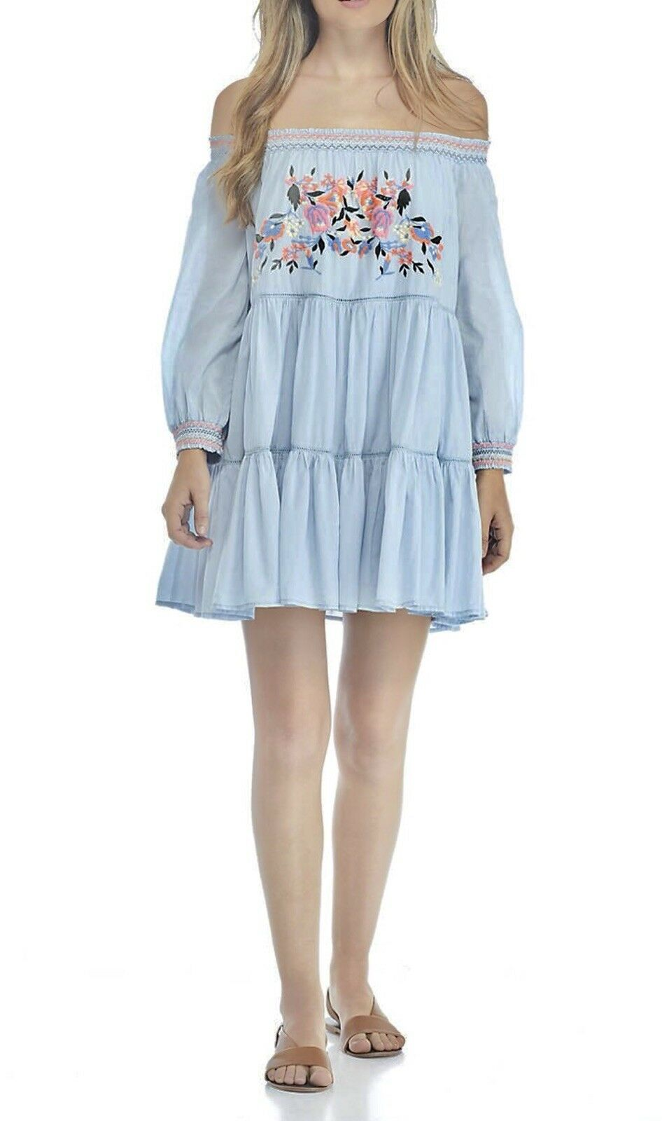 NEW Free People  Sun Beams Embroidered Off-The-Shoulder Mini Dress XS  148