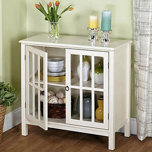 White Display Cabinet Case Glass Doors Shelf Dining Room ...