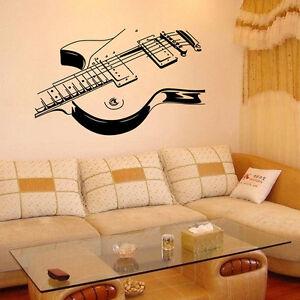 guitar music removable vinyl decal wall sticker mural room home decor ebay. Black Bedroom Furniture Sets. Home Design Ideas