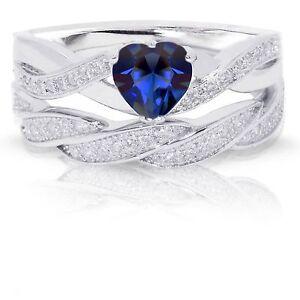 Infinity Celtic Aquamarine Heart Engagement Wedding Sterling Silver Ring Set