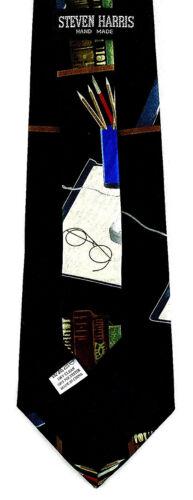 Writer/'s Manuscript Mens Necktie Book Write Novel Writing Desk Black Neck Tie