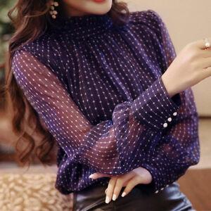 Femmes-chemise-en-mousseline-a-manches-longues-pull-col-de-carriere-blouse-To-LC