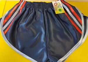 Navy Sky Blue 4XL Retro Nylon Satin Football Shorts S