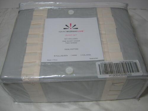 Grey//Ivory 3 PC Isaac Mizrahi Live Tuxedo Full//Queen Duvet Cover /& Shams Set
