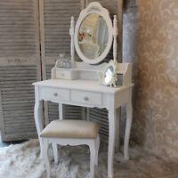 Shabby French Chic White Dressing Table Set Mirror Stool Bedroom Make Up Desk