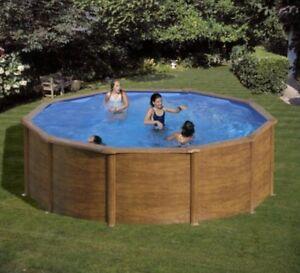 Piscina fuori terra rotonda circolare gre sicilia 350x120 effetto legno ebay - Offerte piscine fuori terra ...