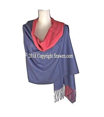 Nepalese Pure Cashmere Scarf// Travel Shawl Wrap Blanket TwoTone Stole handwoven