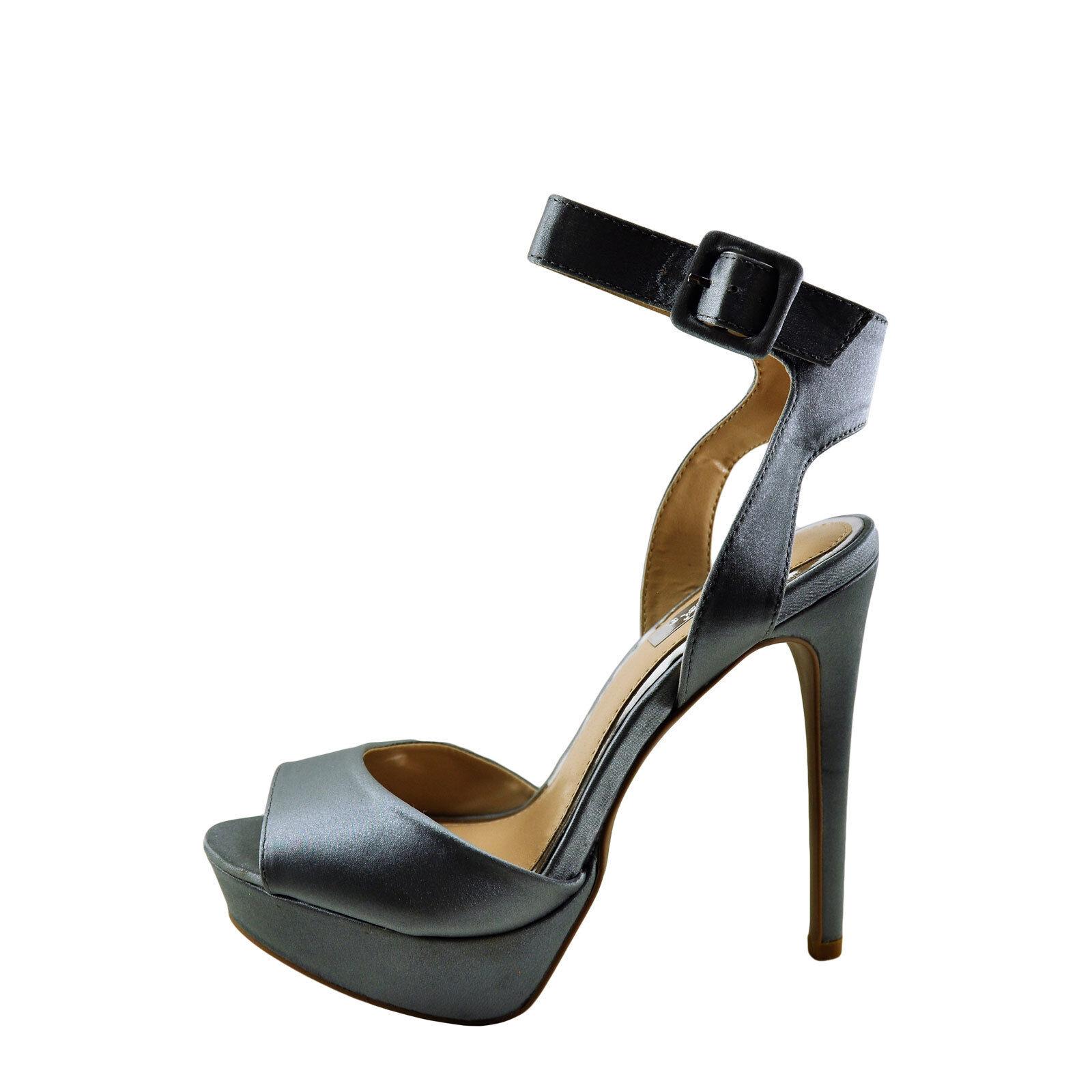 Qupid Avalon-187 Pewter Satin Women's Peep Toe Ankle Strap Heel