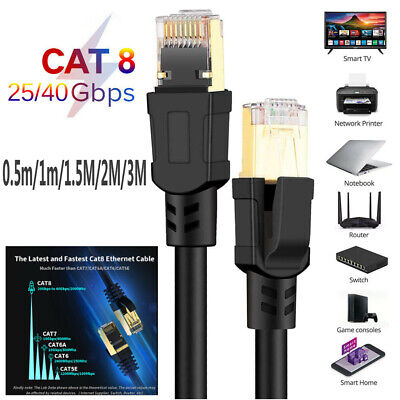 Cat8 Ethernet Cable RJ45 8P8C 25//40Gbps Home Router Network Connection Cord