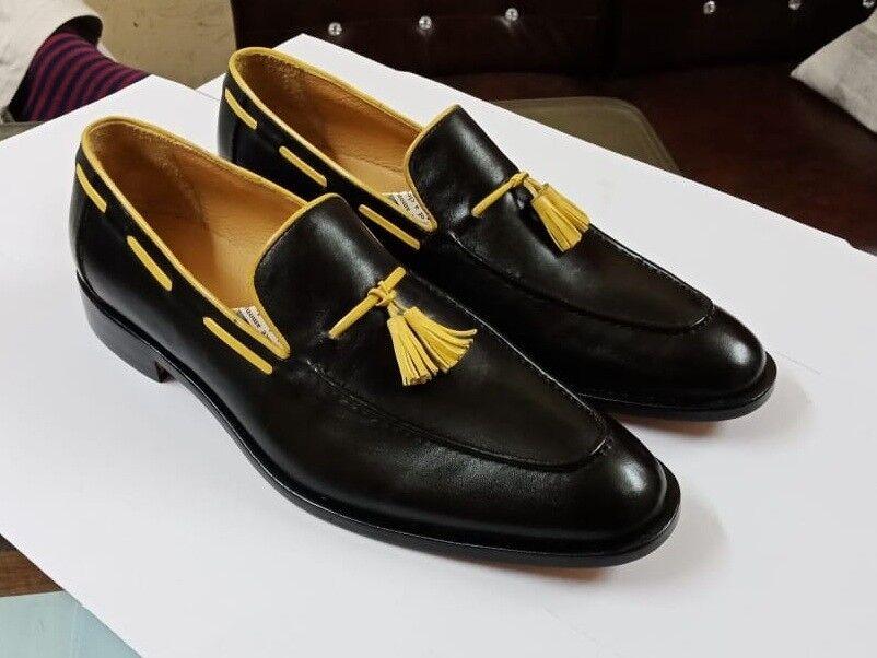 articoli promozionali Handmade Uomo nero nero nero leather scarpe, giallo tassels scarpe for men, moccasin scarpe  distribuzione globale