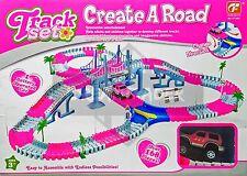 Conjunto De Pista Flexible Con B/S Rosa Auto Juguete Interactivo mejor regalo para niños de 163 piezas