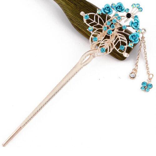Chinesischer Retro Haar Gabel Stock Essstäbchen Blumen Haarnadel Chignon