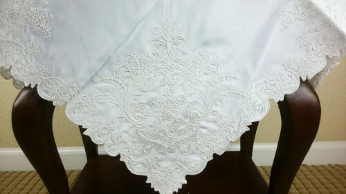 """Embroidered Embroidery Fabric 36x36/"""" Tablecloth White Square Polyester Wedding"""
