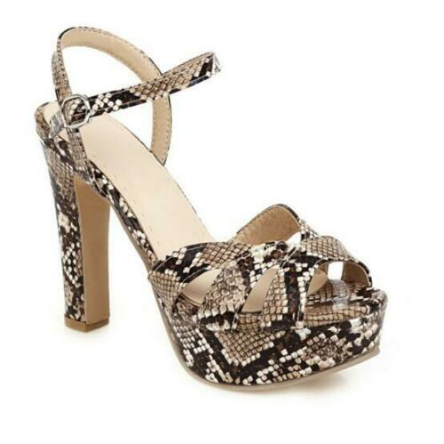 Details about  /Women Snakeskin Pattern Open Toe Platform Slingback Sandal High Block Heel Shoes