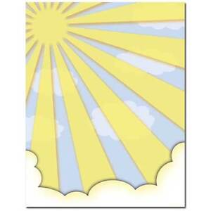 25 or 100pk Colorful Summer Suns All Occasion Summer Letterhead