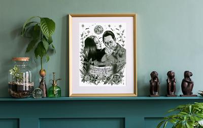 Addams Family Gothic A4 Print Morticia Gomez Love Home Decor Art Ebay