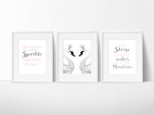 Swan-Lake-Nursery-Print-Kids-Wall-Decor-Ballet-A5-A4-or-A3-Size-Prints