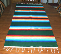 Serape Table Runner Table Topper 2x5' Southwestern Fiesta Lightweight Dark Green