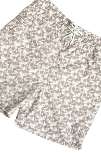 Mens Shorts BELLFIELD Popol Geo Print Swim /& Board Shorts Clay