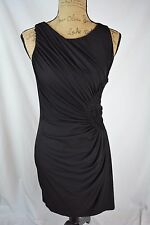 Suzi Chin - Black sleeveless sheath dress RUCHED pattern on side, size 4