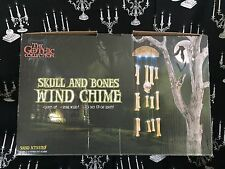 New in the Box ANIMATED HALLOWEEN Skull & Bones WIND CHIMES Lights & Sound
