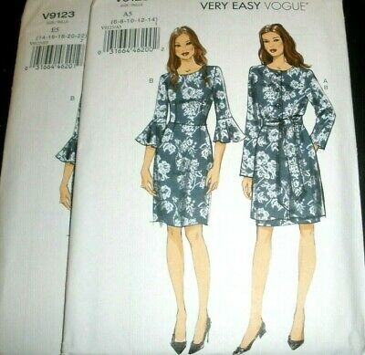 COAT VOGUE SEWING PATTERN 9123 MISSES 6-14 DRESS FLOUNCE SLEEVES LINED JACKET