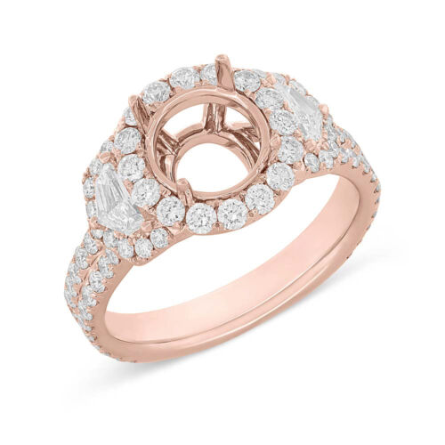 18k Rose Gold Round Semi Mount Diamond Ring Set, 3 Stone Shield
