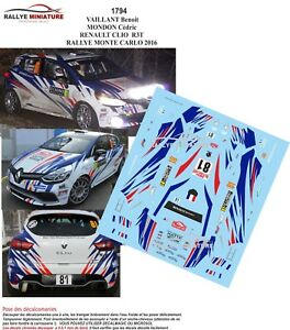 Decals 1//43 ref 2223 renault clio r3 burri rally monte carlo 2016 wrc rally