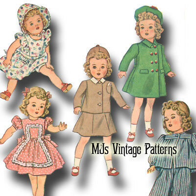 """Coat Hat Shirley Temple 24/"""" 25/"""" Composition Doll Vintage 1930s Pattern ~ Dress"""